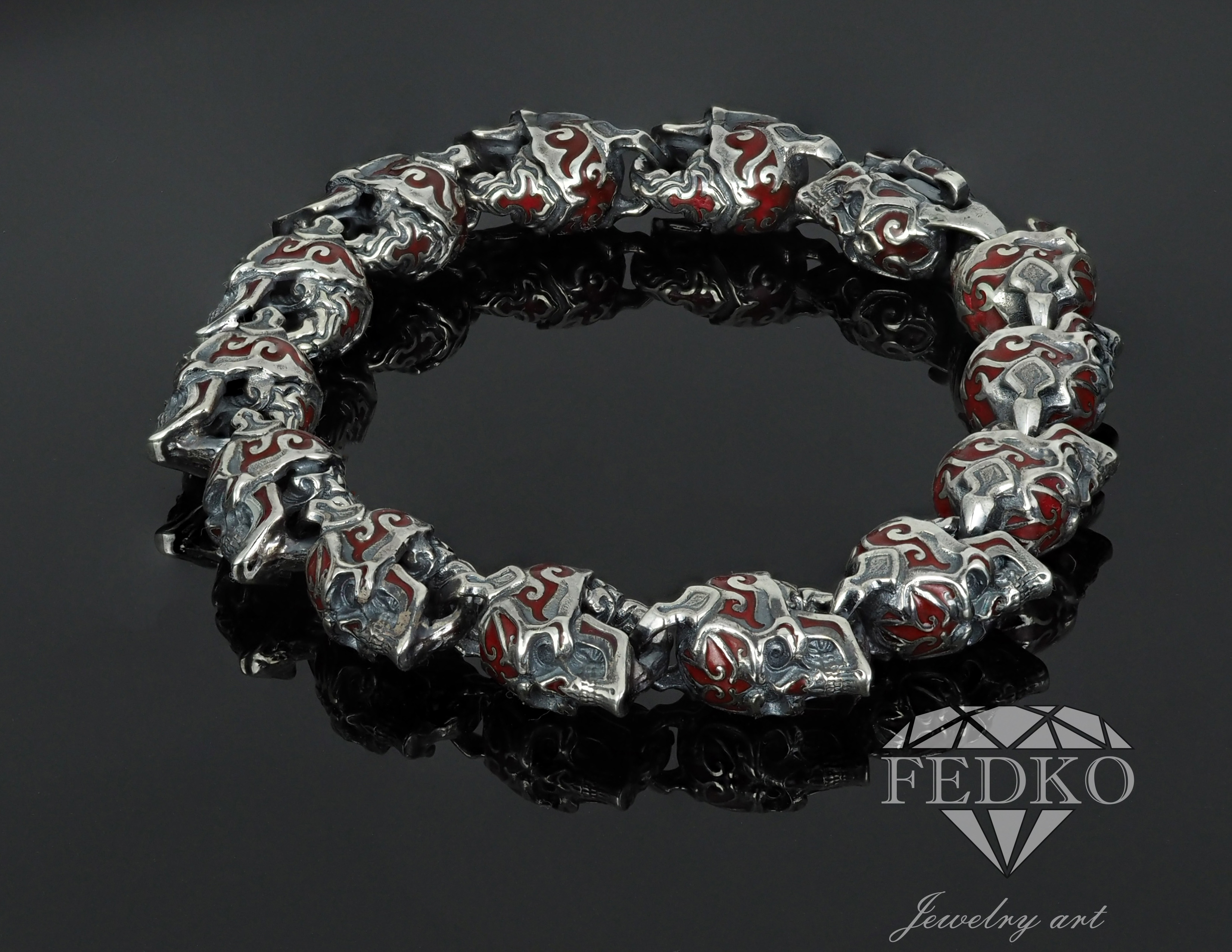 Scull Bracelet Men enamel