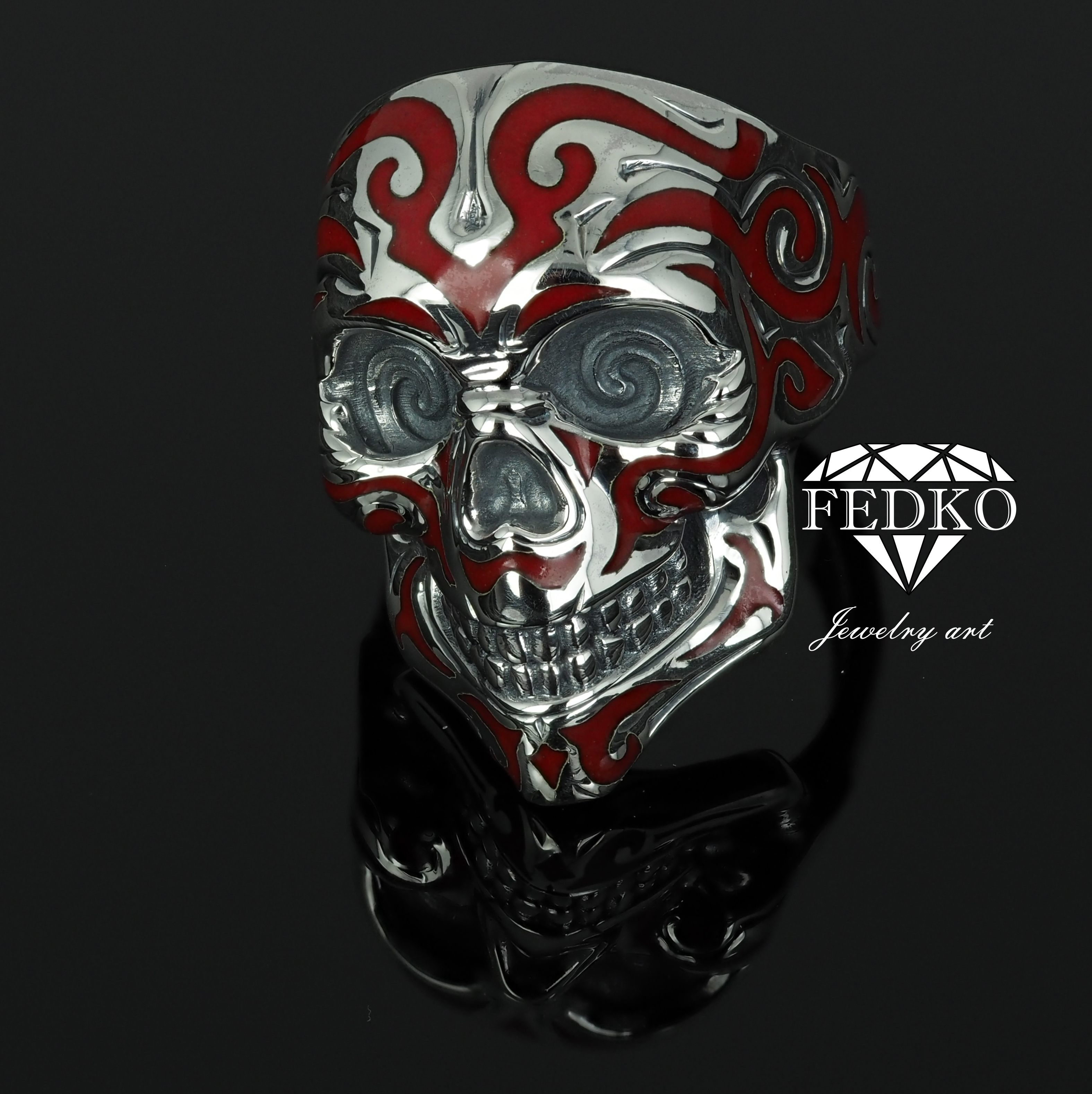 Scull Ring Men enamel